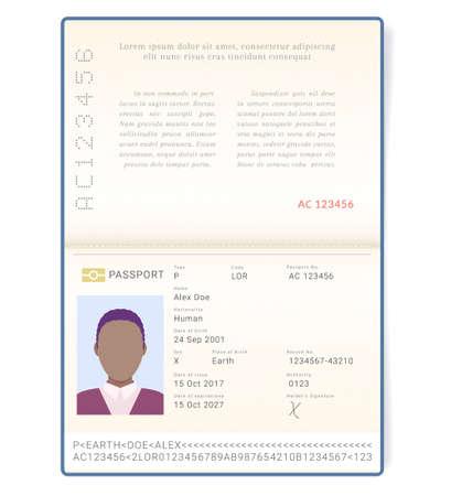 Cosmopolitan gender neutral passport. Man of the world document. Document of unisexual genderless non binary LGBTQ person Vektorgrafik