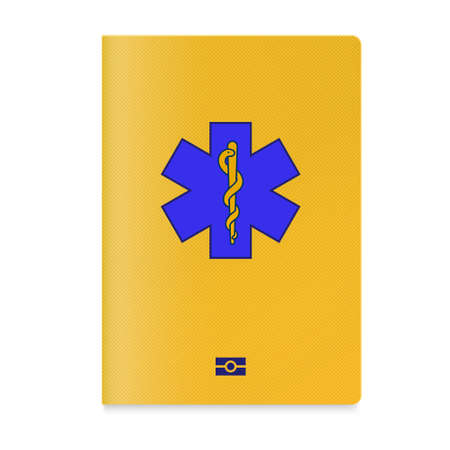 Vaccine passport holder case with a star of life on cover and biometric technology sign Ilustração