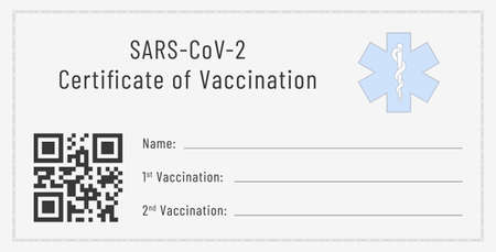 Certificate of vaccination against SARS-CoV-2. Blank template of a flu shots card