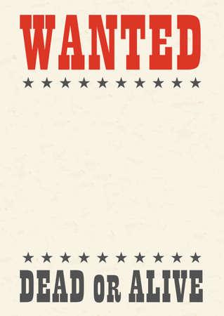 Vintage western reward placard. Wanted dead or alive poster template Иллюстрация