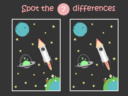 Spot the differences. Child educational game with rocket and flying saucer