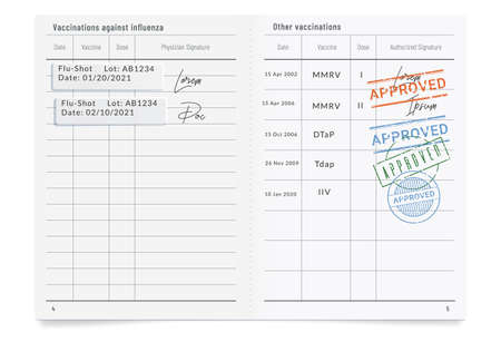 Phony filled vaccination record card with stamps of approval