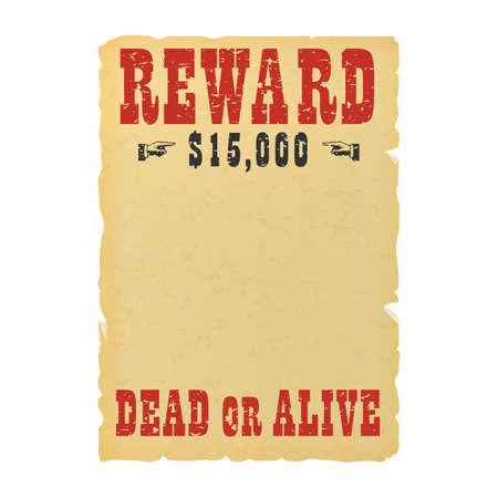 Vintage western reward placard. Wanted dead or alive poster template Illustration