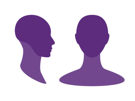 Gender neutral front and side view profile avatar silhouette with a highlighted skull and chin area