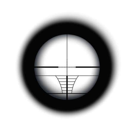 Crosshair of sniper scope viewfinder. Aiming cross of a gun optics. Illustration