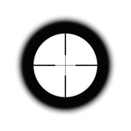 Crosshairs of a sniper scope reticle. Cross hairs of a rifle gun aiming optical viewfinder