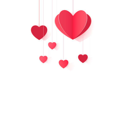 Hanging origami hearts for design and decor