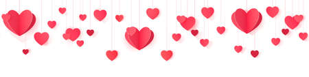 Seamless web banner of hanging paper hearts for website header decor and package design