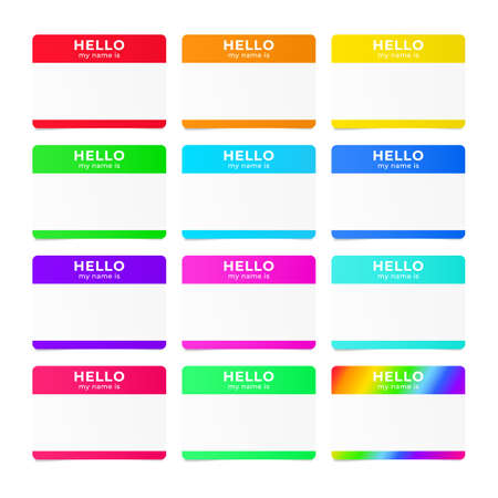 Hello my name is - tag. Introduction sticker for dating and meetups Illustration