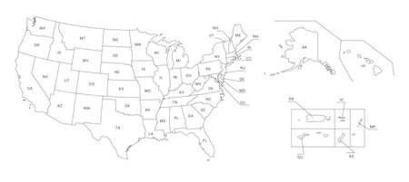Map of America. United States Political map. US blueprint with the titles of states and regions. All countries are named in the layer panel.