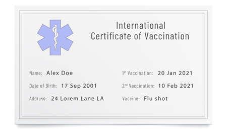 Phony filled immunization certificate. Forged immune passport. Illustration