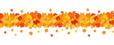 Decorative autumn banner line with of orange leaves Illustration