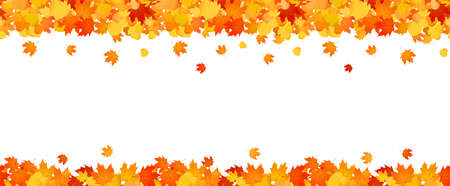 Panoramic autumn frame of orange and red falling leaves. Illustration