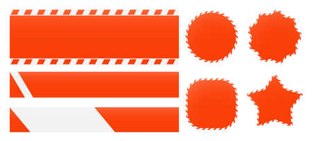 Barrier tapes and banners. Barricade lines and price tags. Industrial clip art and backgrounds. Illustration