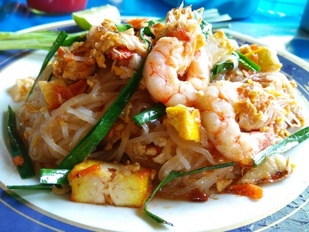 gung: Thai Fried Noodle With Prawn (Pad Thai Gung Sod) Stock Photo