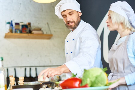 Conducting Cooking Workshop Stock Photo