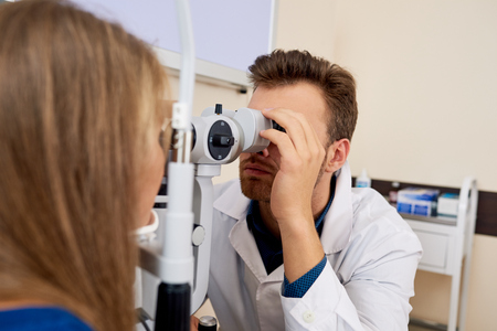 Young Woman Getting Eye Test at Optometrists