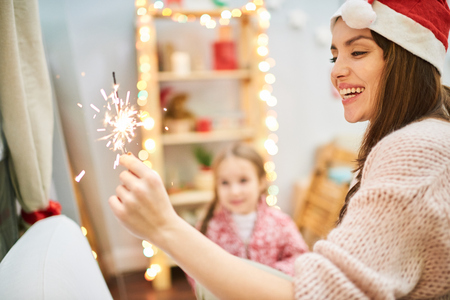 Having Fun at Christmas Eve Stock Photo
