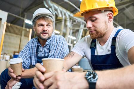 Builders on Coffee Break Stockfoto