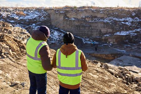 Mijnwerkers op opgraving Stockfoto