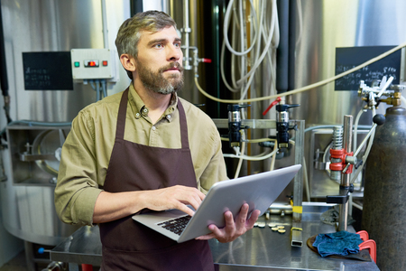 Confident Inspector at Beer Factory Banco de Imagens