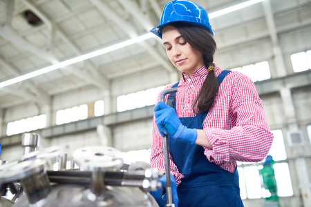 Young Woman Working at Plant Stock Photo