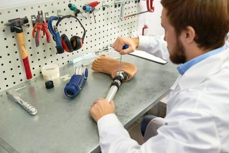 Prosthetist Making Artificial Leg Stock fotó