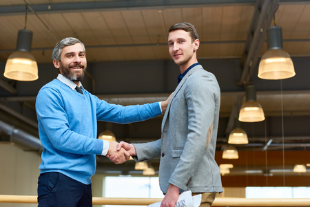 CEO Presenting Young Business Partner Stock Photo
