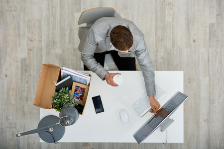 First Working Day in New Company Stock Photo