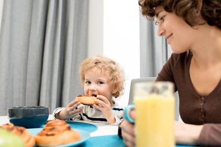 Having Breakfast in Bosom of Family Stock Photo