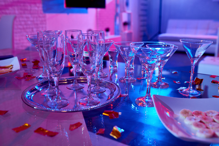 Cocktail Glasses on Party Table