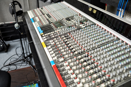 Professional music equipment in recording studio