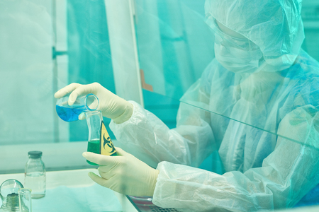 Female Scientist Researching Viruses Stock Photo