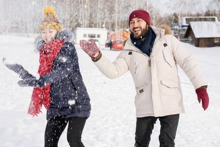 Asian Couple Having Fun in Winter