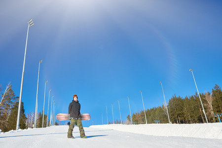 Snowboarder at Empty Piste