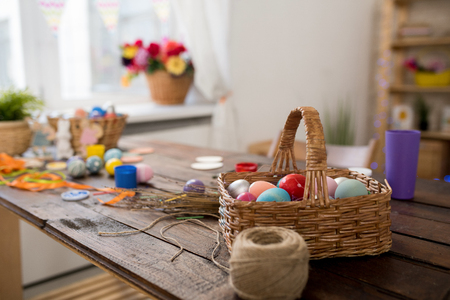 Basket of Easter Eggs on Crafting Table