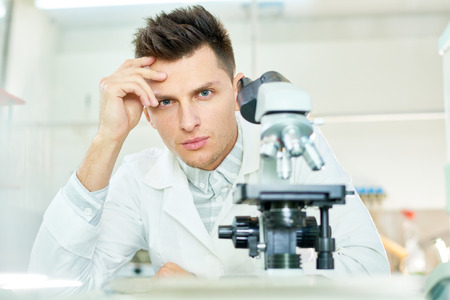 Handsome Researcher Posing for Photography Stok Fotoğraf