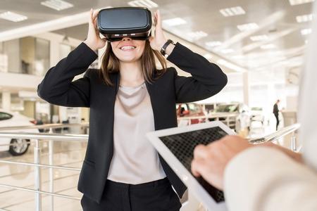 Pretty Young Woman Enjoying VR