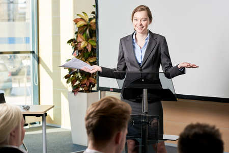 Young Businesswoman Giving Speech