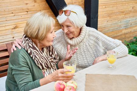 Senior Girlfriends in Cafe Together Standard-Bild