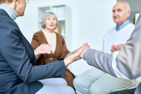Support Therapy Session for Senior People Stockfoto
