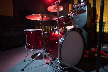 Modern Drum Set on Stage 写真素材