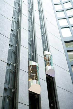 Modern elevators in office lobby