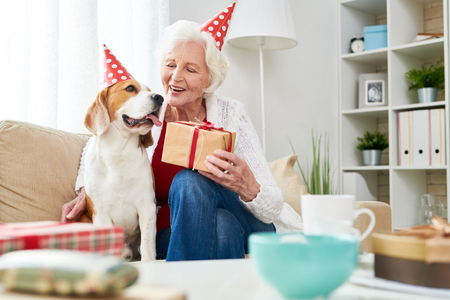 Cheerful senior woman congratulating dog with birthday Stock Photo