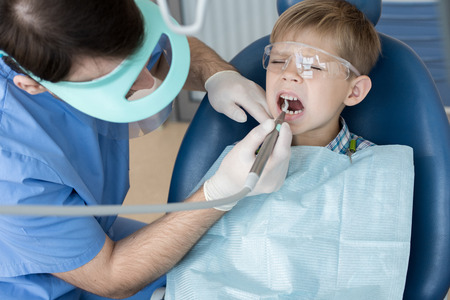 Scared Little Boy  at Dentists