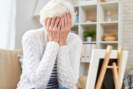 Grieving Senior Woman Crying