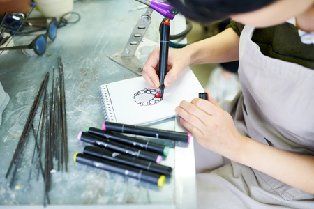 Artist Drawing Jewelry Sketch Stock Photo