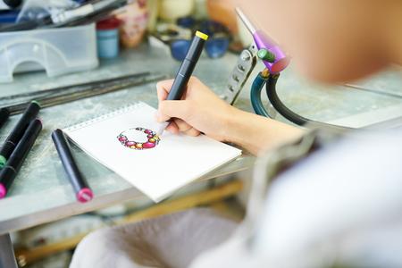 Female Artist Drawing Sketch