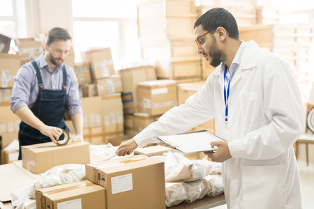 Quality Control at Factory Warehouse Stock Photo