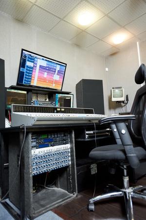 Control board and monitors in studio Banco de Imagens